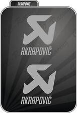 2 Adesivi Stickers Akrapovic resistenti al calore prespaziati 5,3 x 6 cm Grigio