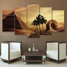 5pcs Canvas Egyptian Pyramids Oil Painted Sunset Desert Wall Pictures Home Decor