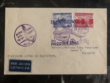 1936 Warsaw Poland First Flight Cover FFC to Tel Aviv Palestine