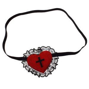 Gothic Girls Red Heart Black Cross Women Eyepatch Cosplay