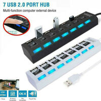 USB HUB 2.0 High Speed 7 Port Multi Splitter Expansion Desktop PC Laptop Adapter