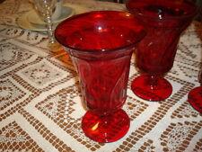 "4 Ruby Red Jamestown 6"" Ice Tea Tumblers w Foot, by Fostoria"