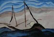 Fine Early American Modernism gouache Landscape painting, signed, seascape