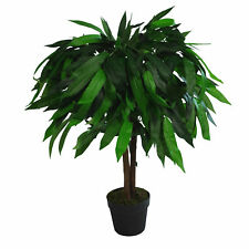 Leaf Design UK Extra Large Artificial Mango Tree Plant - Potted in Black Pot