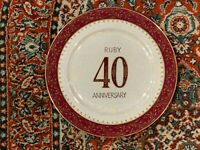 """40TH WEDDING ANNIVERSARY SCROLL FLORAL RUBY  G&G 10.5"""" PLATE GOLD VINTAGE"""