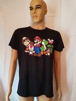 Super Mario Bros Black Shirt Yoshi Donkey Kong Toad Adult Large Nintendo