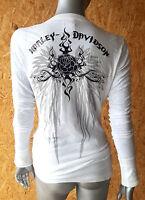 Harley Davidson Damen T-Shirt Gr. L Langarm Shirt Weiß Neu und ungetragen