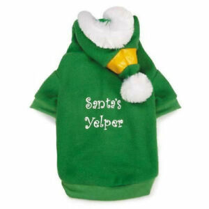 "Elf Dog Hoodie Green ""Santa's Yelper"" Christmas Holiday Costume Faux Fur hood"