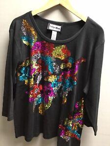 Ladies Indigo Moon Black Multicoloured Sequin Design Top UK XXL