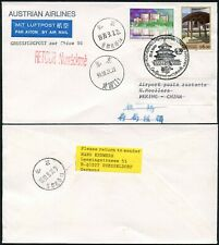 AUSTRIAN AIRLINES to CHINA 1999 FLIGHT SPECIAL POSTMARK