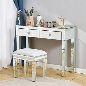 Mirrored Glass Dressing Table Bedside Bedroom Makeup Desk 2 Drawers Dresser UK