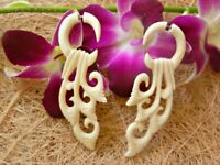 Fake Gauge Ear Stretcher Carved Bone/Horn Earring Buffalo Handmade Split Hook