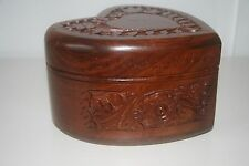 Handmade Wooden Jewellery box Rosewood Carved Timber Heart Shaped Small Size #01