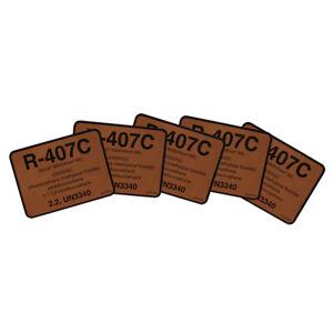 R-407C / R407C SUVA 9000 KLEA 66 / 79512 UN3340 Refrigerant Label , Pack of (5)