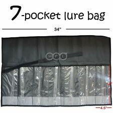 Qty 5 Black Fishing 7 Pocket Lure bag Roll-up Trolling TACKLE Storage Jig bags