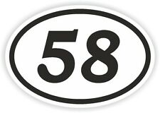 58 58 número Oval pegatina de parachoques etiqueta Motocross Motocicleta aufkleber