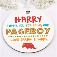 PERSONALISED Page Boy Ring Bearer DINOSAUR Wooden Plaque Gifts Wedding Thank You