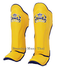 NWT Top King Muay Thai Shin Pads TKSGP GL Shin Guards Pro Genuine Leather Yellow