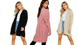 Ladies Oversized Chunky Twist Cable Knitted Pocket Long Cardigan