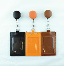 Retractable PU Leather Reel attached Vertical ID Badge Holder- free Alligator