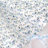 Molly - weiß/blau Blumen vintage Baumwollstoff Retro PRO VOLL Meter