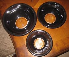 Set of 3 Vintage Pyrex Mixing Bowls Black with Clear Bottoms EUC
