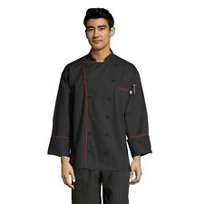 Murano men's chef coat, Black with Red Piping, Xs to 3Xl 0432 Free Shipping