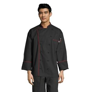 Murano men's chef coat, Black with Red Piping, XS to 3XL 0432
