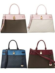 Michael Kors Gramercy Large PVC Satchel Crossbody Signature MK Handbag Bag