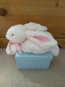 Doudou Et Compagnie Cream Bunny Comforter Toy. Floppy Rabbit with pink scarf. ⭐