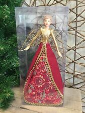 Gisela Graham red 'Stately Home' tree top Christmas fairy angel 28cm