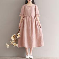 Womens Ladies Linen Short Sleeve Scoop Neck Empire Waist Pink Dress Casual Retro