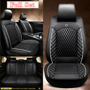 Black/White PU Leather Car Front & Rear Full Set Seat Cover Cushions Universal