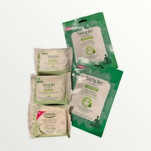 Set Of 5 Simple Sensitive Skin Eye Make-Up Remover Pads 30 Pads And Face Masks
