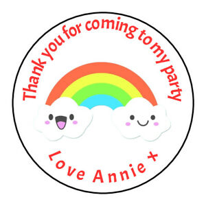 Rainbow Cloud Nursery Personalised Thank You Sticker Party Sweet Cone Birthday