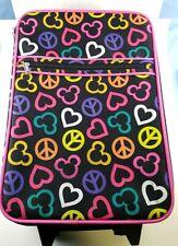 Walt Disney Disneyland Travel Suitcase Bag Hearts Peace Sign Mickey Rolling Bag