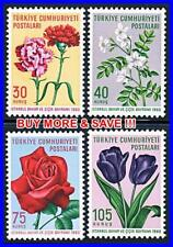 TURKEY 1960 GARDEN FLOWERS MNH ROSES, TULIPS, CARNATIONS