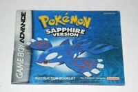 Pokemon Sapphire Nintendo Game Boy Advance Video Game Manual Only