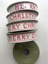 5 x Merry Christmas Vintage Style Ivory & Red Quality Fabric Finishing Ribbon