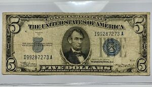 1934-A US 5 Five Dollar Bill Silver Certificate Blue Seal Collector Note