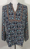 Ann Taylor Loft Womens Top Medium Paisley Multicolor Long Sleeve V Neck Boho
