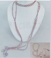 Amethyst Pearl Drop Long Necklace Scarf Style HOT HIGH QUALITY- AU SELLER