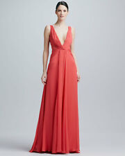 BADGLEY MISCHKA GOWN, Plunging Double V-Neck Silk Gown Size 14