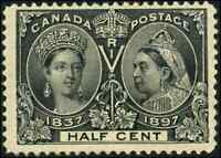 Canada #50 mint F+ OG NH 1897 Queen Victoria 1/2c black Diamond Jubilee
