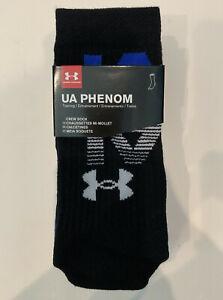 3-Pair Under Armour UA Phenom Training Mens Crew Socks Size 8-12 Black/Blue/Grey