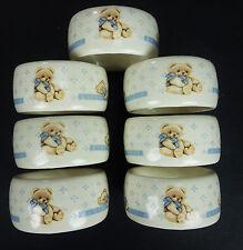 7 Ceramic Teddy Bear Napkin Ring Vtg Holders