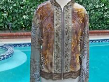 Jaipur Women's Embellished Beaded Zip Front Long Sleeve Blouse XL