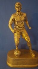 """Bronze Tone 9"""" Tall Male Soccer Player - Resin Statue Trophy 1.9 Pounds"""