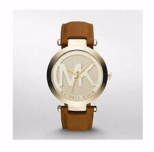 Michael Kors Women's MK Logo Runway Gold Tone Brown Leather 39mm Watch MK2398