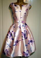 Pink Floral Wedding Party Races Prom Formal Occasion Evening Midi Dress Size 10